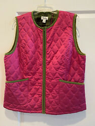 New Lilly Pulitzer Pink Quilted Vest Zip Palm Trees Sz L 178