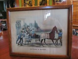 Rare Currier And Ives Getting A Boost 1882 Lithograph. Red Oak Frame.