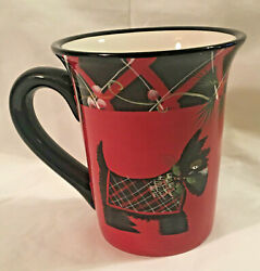 Certified International Black And Red Plaid Scottie Dog Replacement Mug Cup