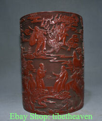 14 Marked Old Chinese Lacquer Ware Dynasty Palace Eighteen Arhats Brush Pot