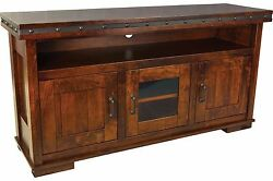 Amish Rustic Pasadena Tv Stand Console Solid Wood Metal Band And Buttons 65w