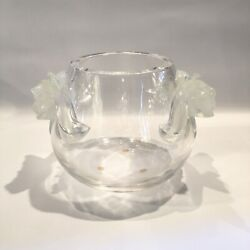 Vintage French Lalique Crystal Opalescent Glass Orchid Bowl