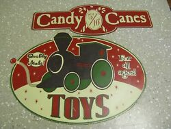 2 Metal Sign Lot Retro Candy Shop Or Toy Store Candy Canes And Toys