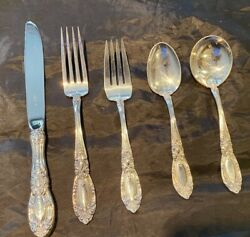 Towle King Richard Sterling Flatware Set For 4 With 5 Super Shape Era 1950and039s