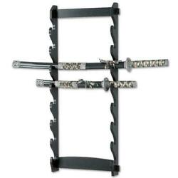 8 Tier Sword Wall Mount Display Stand Katana Wood Hanger Collection Rack Only Nw