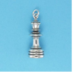 Queen Chess Piece Charm Jewelry 3-d .925 Sterling Silver Or 22 K Gold Vermeil