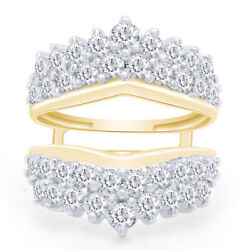 2.00 Ctw Round Natural Diamond Solitaire Enhancer Ring Guard 14k Yellow Gold