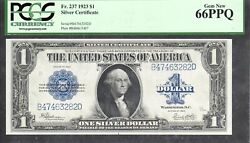 1 1923 Fr. 237=silver Certificate=last Of Large Size=pcgs Gem New 66 Ppq