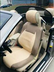 Car Seat Covers 2 Pcs   Made For Bmw   Towel And Synthetic   Tan Beige