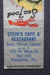 Kutztown Pennsylvania Steinand039s Cafe And Restaurant Matchbook-vintage Cool 1930-40s