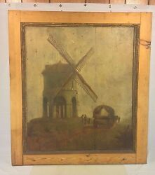 Antique Oil Painting On Wood Panels Windmill And Wagon 1700s To 1800s