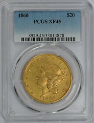 1860 Early Date Gold Pcgs Extra Fine Xf45 20 Liberty Head Double Eagle Coin