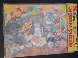 New Factory Sealed 1954 Sifo Jigsaw Frame Tray Puzzle Cats By Wonder Books