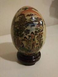 Large Decorated Collectible Ceramic Egg With Wooden Stand