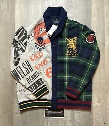 Nwt Polo Mix Pattern Buttoned Sweatshirt Cardigan Menandrsquos S M Xl 298