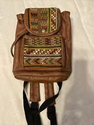 Ixchel Embroidered Drawstring Backpack Small Brown Cross stirch $20.00