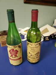 Lot Of 2 Used Green Wine Bottles