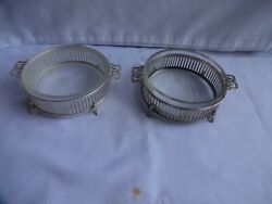 Vintage Silver Plate And Cut Glass Small Dishes X 2 Dia. 9 Cm W Adams Birmingham