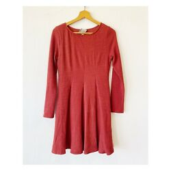 Anthropologie Dolan Piper Dress Womens Size S Pleated Knit Soft Warm Long Sleeve