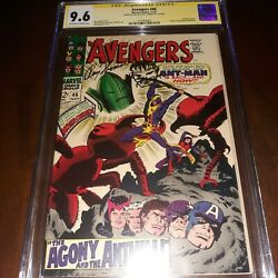 Signed + Hulk Remarqued Avengers 46 Cgc Ss 9.6 1967 One Of Only 3 None Higher