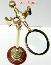 Collectible Magnifying Glass With Brass Wood Desk Stand Magnifier Decor Itemcoll