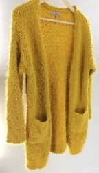 Lovetree Womens Small Chunky Gold Yellow Cardigan Open L. Sleeve Knit Sweater A2