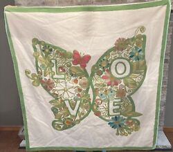 Pottery Barn Teens Embroidered Butterfly Love Wall Tapestry Decor 40x40