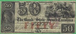 1860 Bank Of The State Of South Carolina Sc 50 No.143 Stamp Cancelled