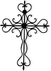 Rely+ Decorative Hanging Wall Cross. Black. 14 X 10 Inch Large Metal Decorative