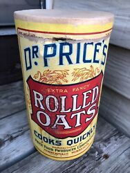 Antique Dr Price's Rolled Oats Oatmeal Cereal Canister Box Minneapolis Mn