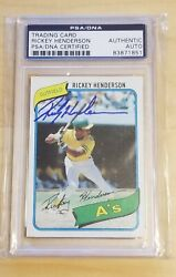 1980 Topps Rickey Henderson 482 Psa/dna Authentic Auto Signed Hof Man Of Steal