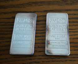 Two Old Johnson Matthey 10 Ounce 999 Fine Silver Bars Free Shipping