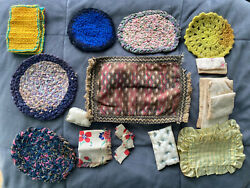 Early 1900and039s Antique Doll House Toy Rugs Braided Persian Bedding Table Cloth