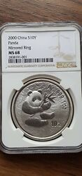 2000 China Panda Mirrored Ring 1oz Silver Coin Ngc Very Very Rare