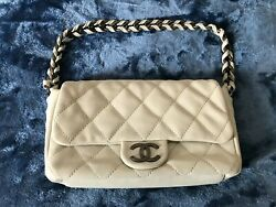Chanel Bag Lambskin Quilted Rectangular Flap White Made In France Authentic $1965.00