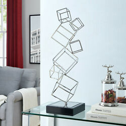 Metal Art Sculpture With Marble Base Contemporary Silver