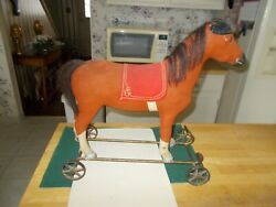 Early 1900s Steiff Ride On Horse With Metal Wheels Pull Toy Felt Orange Covering