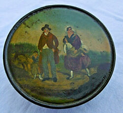 Antique 19th C Papier Mache Circular Snuff Patch Tobacco Box And039and039 Family Scene And039and039