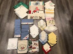 Mixed Lot Of 51 Vintage Linens Pillow Covers Towels Napkins Table Runners