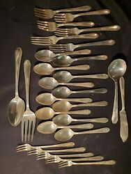 27pc 1938 Holmes And Tuttle Handt Wentworth Silverplate Flatware Olive Forks Serving