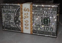 3 Stack of Cash Crystals Women Money Evening Clutch Bags diamond painting chain $155.00