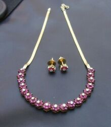 Natural Ruby And Diamonds 14k Yellow Gold Victorian Style Earrings Necklace Set