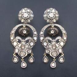 14k Gold Victorian Earrings With Polki Diamonds Natural Diamond Party Wear Gift