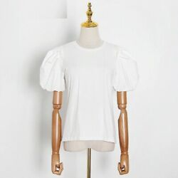 Women Crew Neck T-shirt White Puff Short Sleeve Ruched Slim Casual Summer Clothe