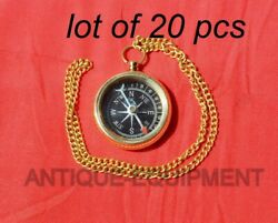 Antique Vintage Maritime Brass 1.5 Locket Compass With Brass Chain Collectible
