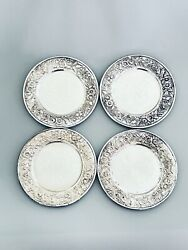 Set Of Four 4 Repousse By Kirk Sterling Silver 61/4 Bread Plate 127