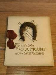 Antique Extraordinarily Weird Creepy Valentines Day Card With Hair