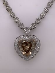 Diamond Heart Shape Pendant In Platinum And 14kt White Gold Illusion Pear Chain