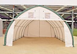 20x30x12 Canvas Fabric Building Shelter W/ Metal Frame Camper Boat Storage New