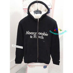 Abercrombie And Fitch Sherpa Lined Full Zip Logo Hoodie Sweatshirts Mens Size M
